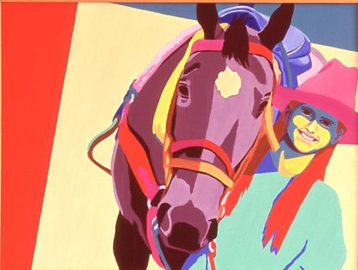 blue saddle pink hat